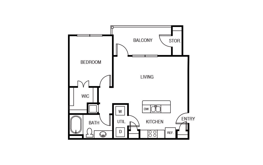 The Acacia - 1 bedroom floorplan layout with 1 bath and 735 square feet.