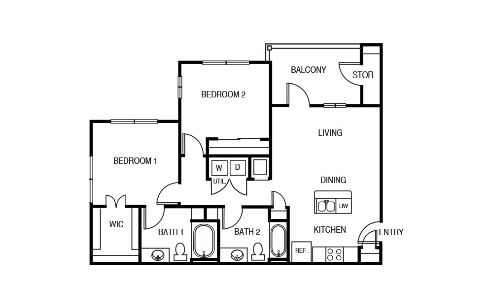 The Juniper - 2 bedroom floorplan layout with 2 baths and 960 square feet.