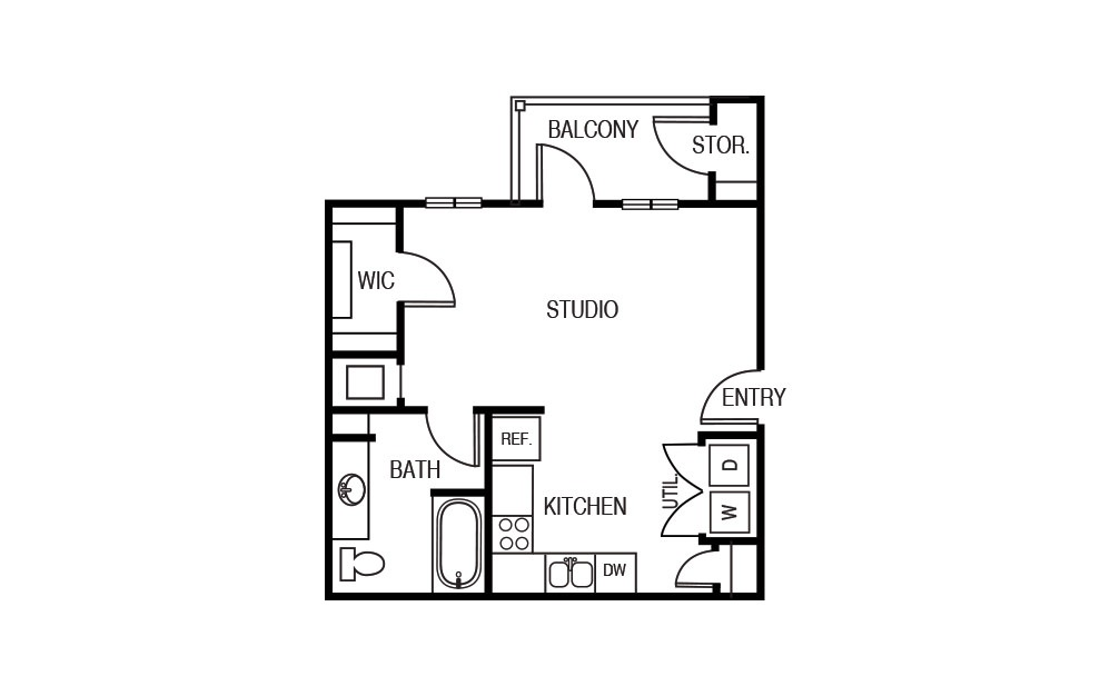 The Sumac - Studio floorplan layout with 1 bath and 505 square feet.