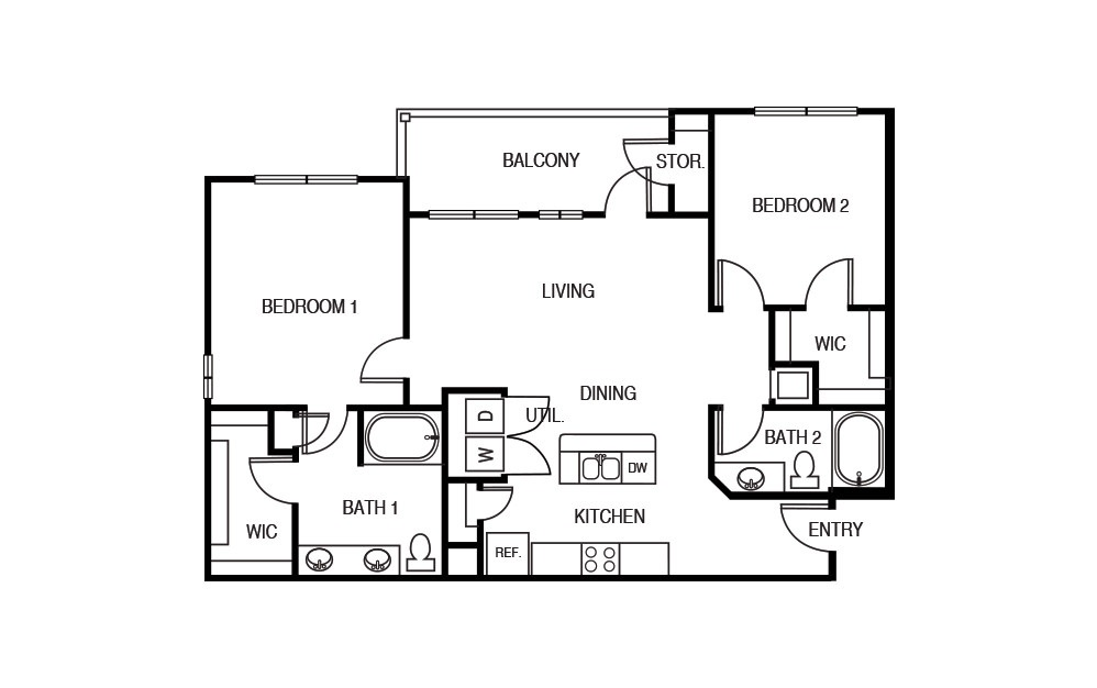 The Texas Oak - 2 bedroom floorplan layout with 2 baths and 1150 square feet.