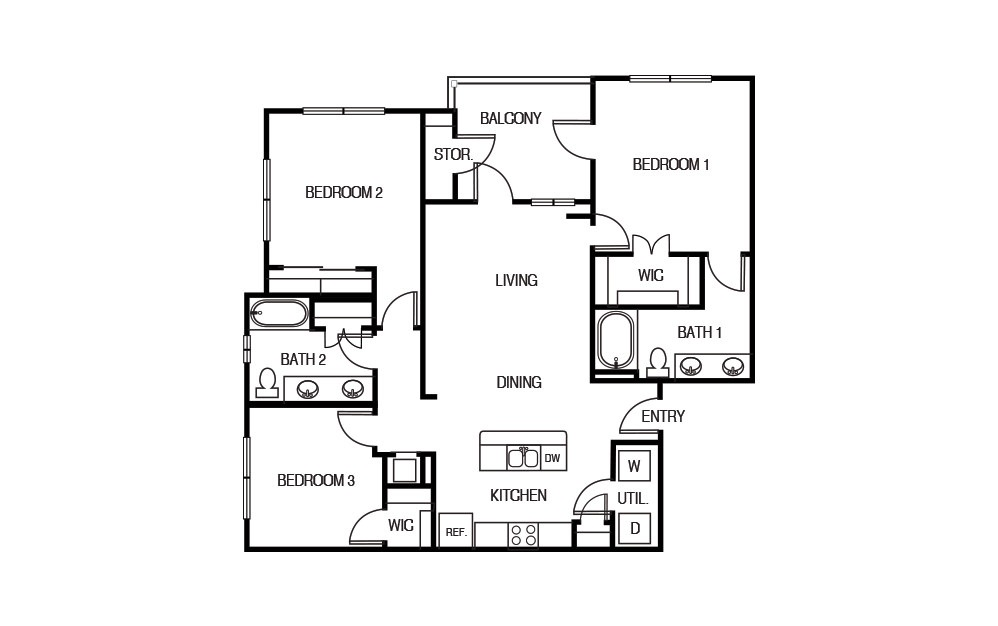 The Yucca - 3 bedroom floorplan layout with 2 baths and 1300 square feet.